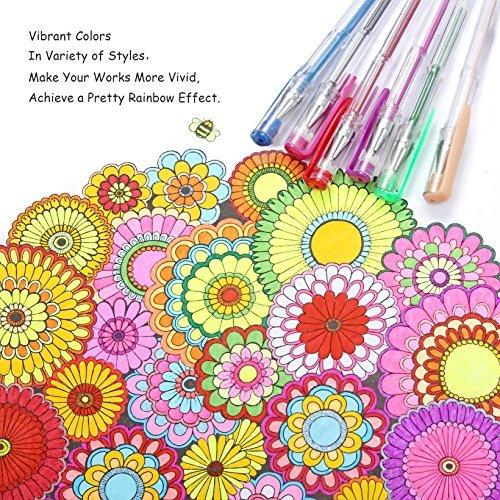 Gelmushta 72 Unique Colors (No Duplicates) Gel Pens Set for Adult Coloring Books with Case Photo #5