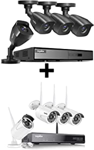 4CH Wired Security System with 8CH Wireless Security System