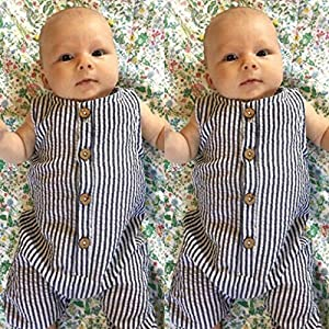 0-2Years,SO-buts Summer Newborn Baby Boy Girl Summer Casual Striped Romper Jumpsuit Playsuit Outfits Clothes