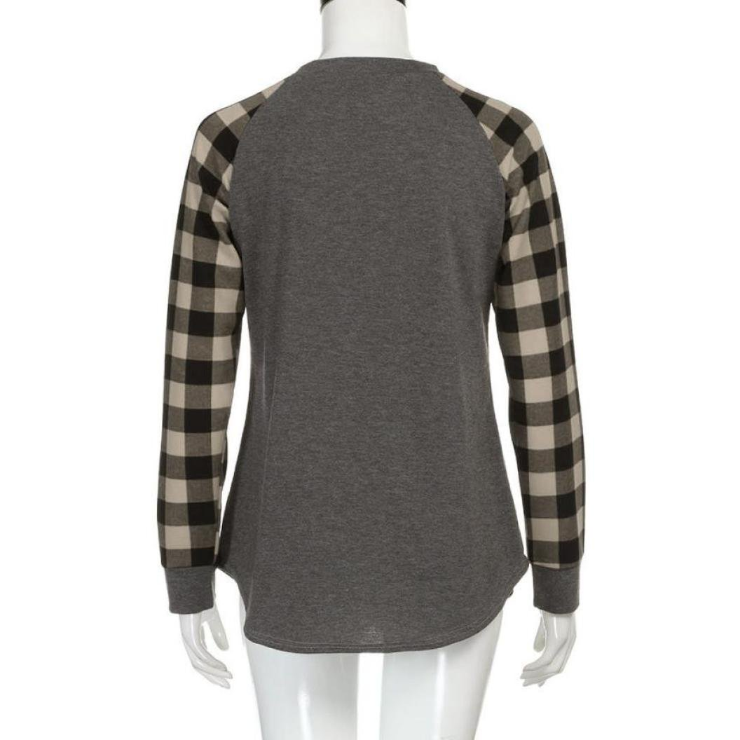 Mujer Ropa Blusas y camisas,Koly Sudadera con cuello en V manga larga para mujer Sudadera con cuello en V Camisetas y tops Sudaderas Jersey Enrejado ...