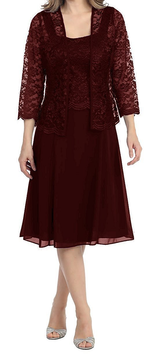 Brownish Red Womens Short Mother of the Bride Plus Size Formal Lace Dress with Jacket Dark Purple US28