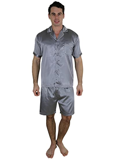 656cb037a1 Yanqinger Mens Luxury Polyester Pajamas Short Button-Down Silk ...