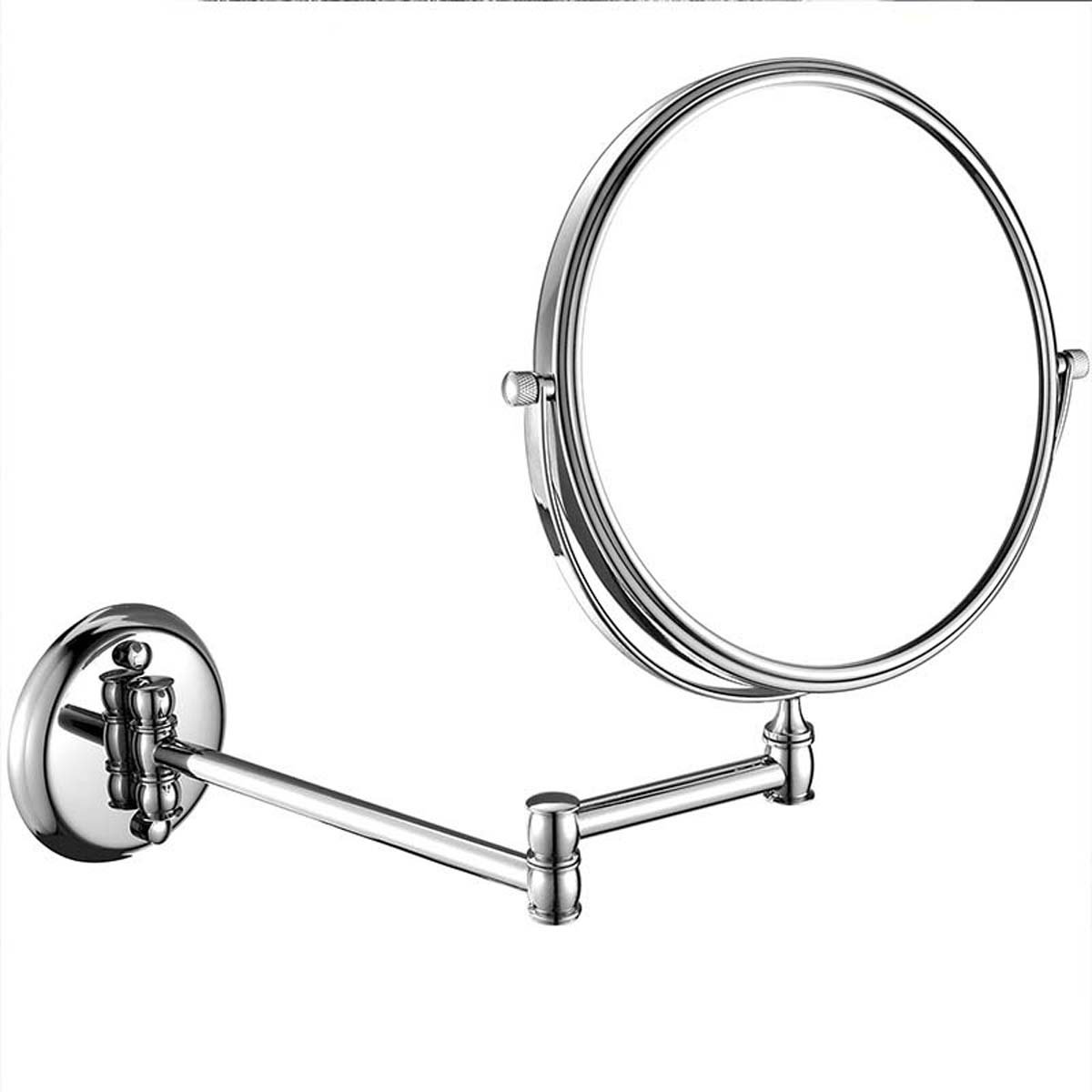 J&A Wall mounted collapsible makeup mirror, 8In creative metal rotating makeup mirror, double sided 1:3 magnification wall mount mirror, chrome synthesis