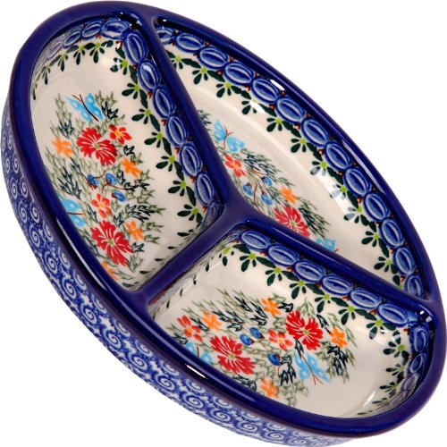 (Polish Pottery Ceramika Boleslawiec, 0727/238, Mercedes Divided Platter, 10 3/4 Inches in Diameter, Royal Blue Patterns with Red Cornflower and Blue Butterflies Motif)