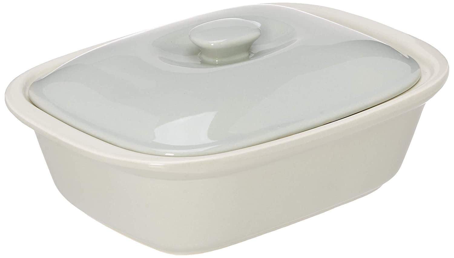 10.5x7.5x3 Off-White Le Regalo HW1232 Stoneware Rectangular Bakeware Dish with Lid