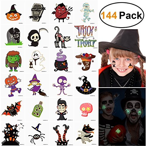 Temporary Tattoos for Kids Halloween Unicorn Birthday Party Favors Pack 144 Assorted (Halloween Tattoos Glow in The Dark) -