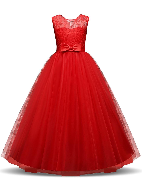 90dfa475587b3 NNJXD Filles Pageant Broderie Robe de Bal Princesse Robe de mariée:  Amazon.fr: Vêtements et accessoires