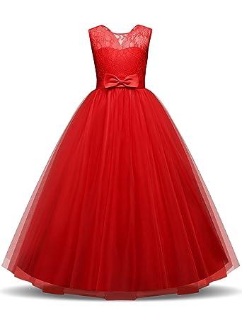 Nnjxd Filles Pageant Broderie Robe De Bal Princesse Robe De Mariee
