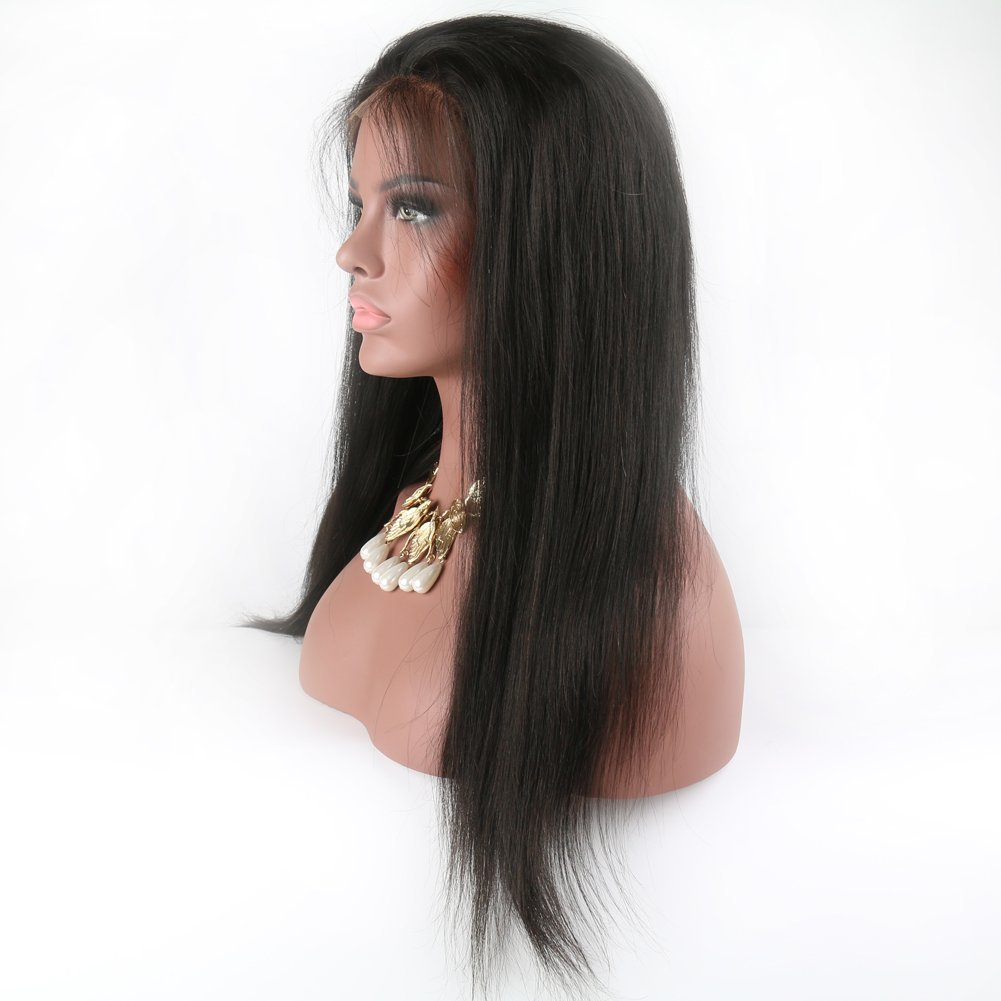 Eayon Hair 6A Virgin Hair Glueless Human Hair Full Lace Wigs Brazilian Silky Straight Hair Lace Wig with Baby Hair for Women 130% Density Natural Color 18 inch by Eayon Hair (Image #3)