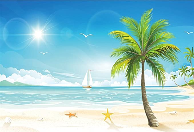 Kids 10x6.5 FT Vinyl Backdrop PhotographersFunny Sea Animals Underwater Ocean View with Sail Boat Palm Trees Cartoon Artwork Background for Party Home Decor Outdoorsy Theme Shoot Props