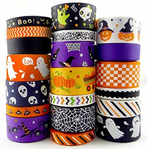 Homespun Ribbon Lot 20 Styles 3/8 Inch 1 Inch Halloween Grosgrain Theme Christmas 20Yards Assorted Grosgrain Cartoon Theme Craft Bow Ribbon Celebration (Season 7 Modern Family Halloween)