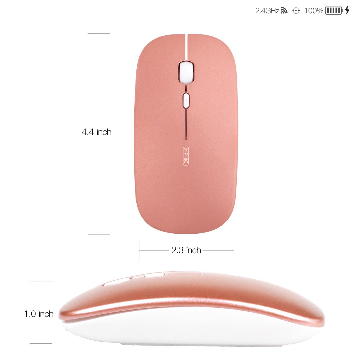 Rechargeable Wireless Mouse,inphic Mute Silent Click Mini Noiseless Optical Mice,Ultra Thin 1600 DPI for Notebook,PC,Laptop,Computer,Macbook (Rose gold)