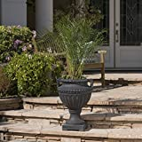 Great Deal Furniture Alice Outdoor Antique Black Finish Light Weight Concrete Urn