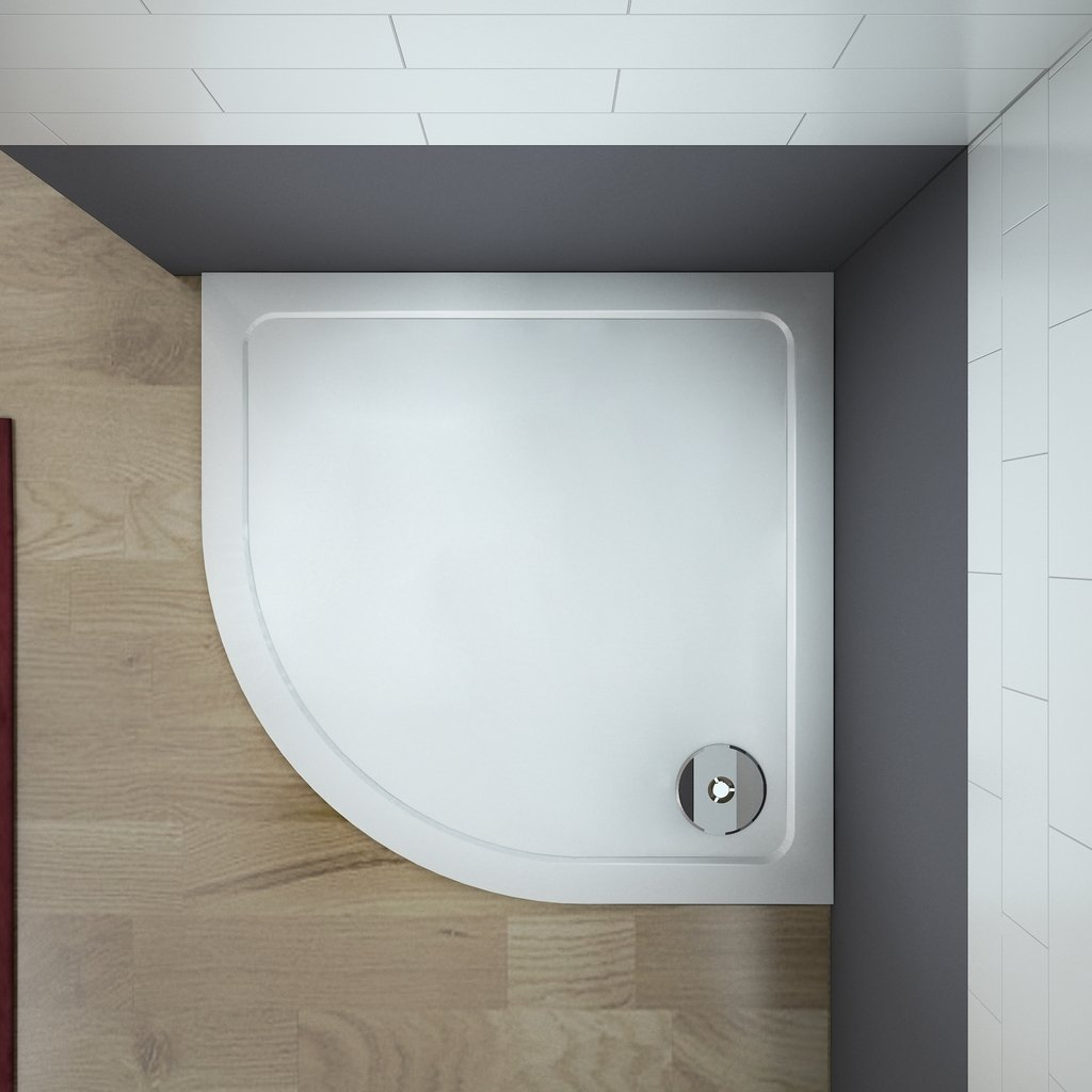 Perfect New 30mm Slimline Shower Enclosure 900x1000mm Right Quandrant Stone Tray with waste