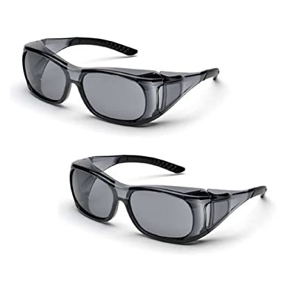 4b1cd424207 Elvex SG-37G OVR-Spec II Over-The-Glass Protective Eyewear Safety Glasses  Gray Lens (2 Pair) - - Amazon.com