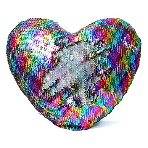 LIANXIANG Mermaid Throw Pillows Two-Color Reversible Sequins Mermaid Heart-Shaped Pillow Cover with Insert 13''×15'' (Colorful-Silver)