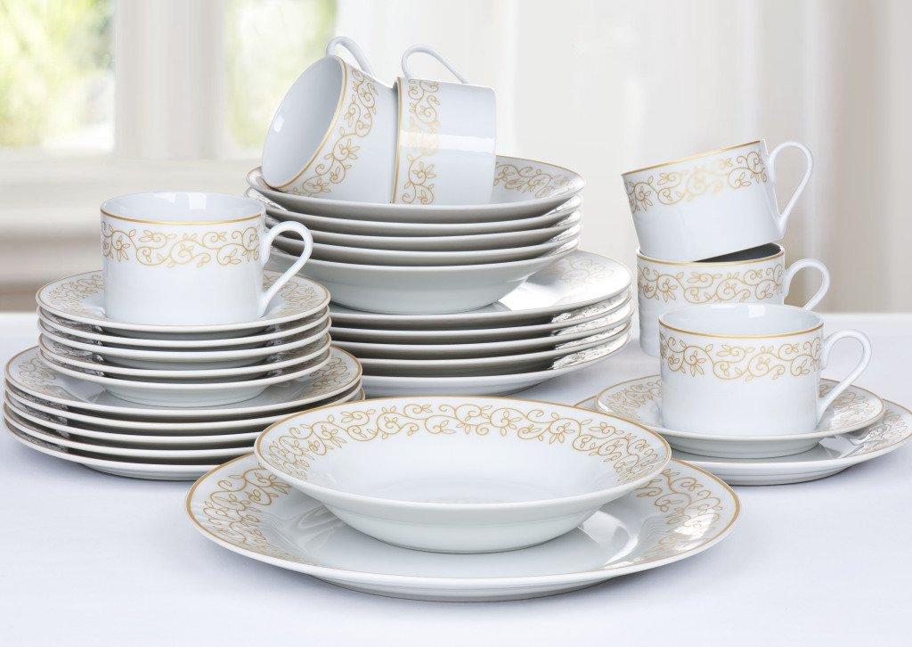 sc 1 st  Amazon UK & 30 Piece Gold Leaf Dinner Set: Amazon.co.uk: Kitchen \u0026 Home