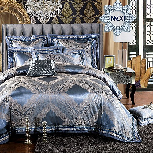 Paisley Satin Pillowcase (MKXI Soft Textile Bedding Modern Duvet Cover Set Sateen Cotton Queen Size Match Pillowcases)