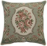Corona Decor French Woven Rose Bouquet Cotton and Wool Decorative Throw Pillow
