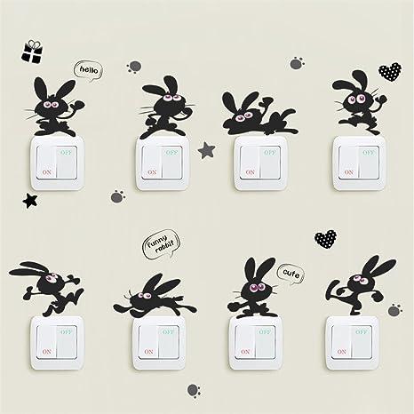 Vinilos para interruptores, 1 set / 8 unids lindo conejito/gato creativo interruptor de