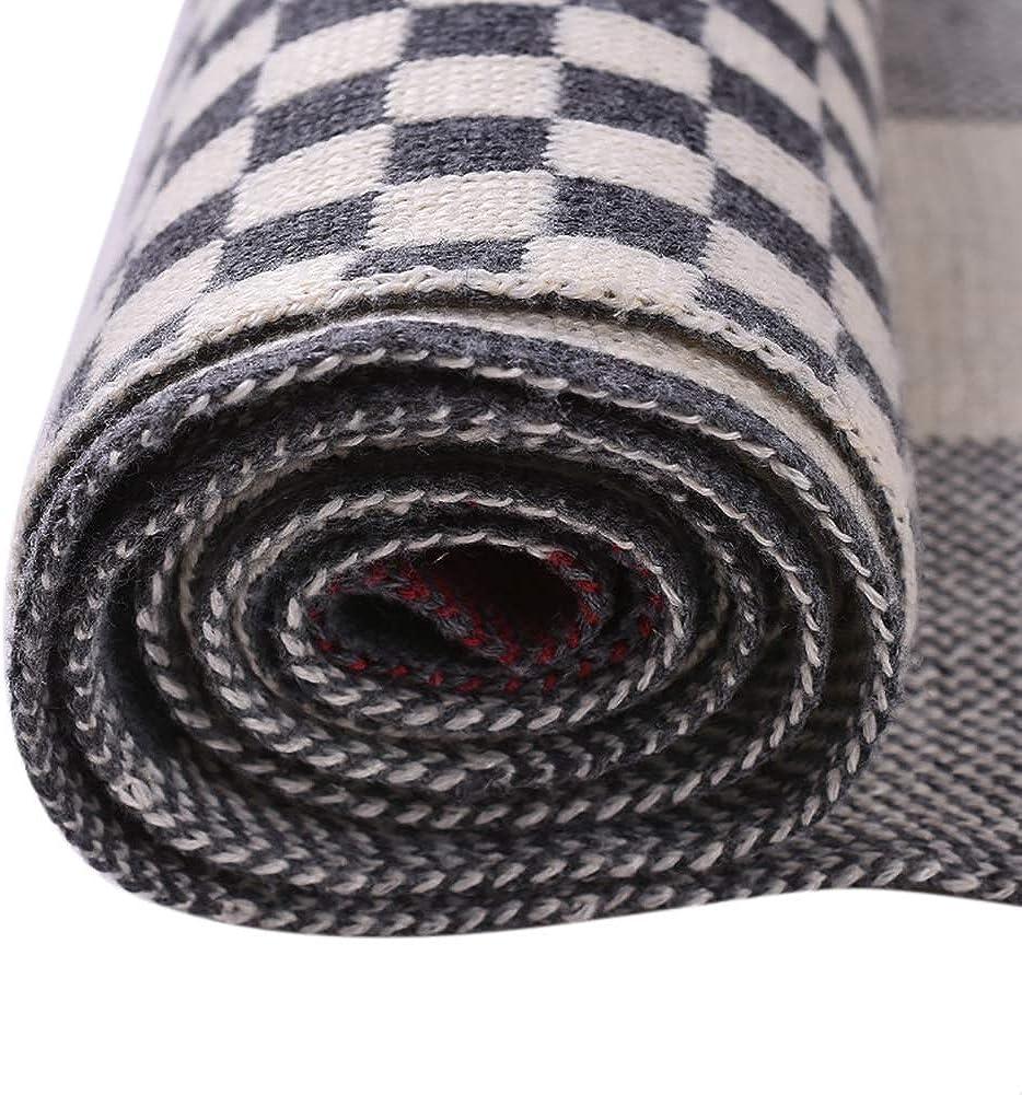 Cashmere Like Acrylic Scarf Thick Cozy Stripe Knit Lattice Men Middle Aged