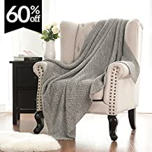 """Knitted Throw Blanket for Sofa and Couch, Lightweight, Soft & Cozy Knit Throws - Heather Grey, 50""""x60"""" by Bedsure"""