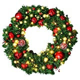 Christmas Wreath with LED Lights - Christmas Garland - Artificial Xmas Pine Wreath - Battery Operated Over 200 Hours - Christmas Decorations - Including Wreath Hanger, Ornaments ,Led Lights - 24 Inch