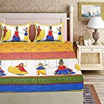 RajasthaniKart® Comfort Rajasthani Jaipuri Traditional Sanganeri Print 144 TC Cotton Double Size Bedsheet with 2 Pillow Covers (Yellow)