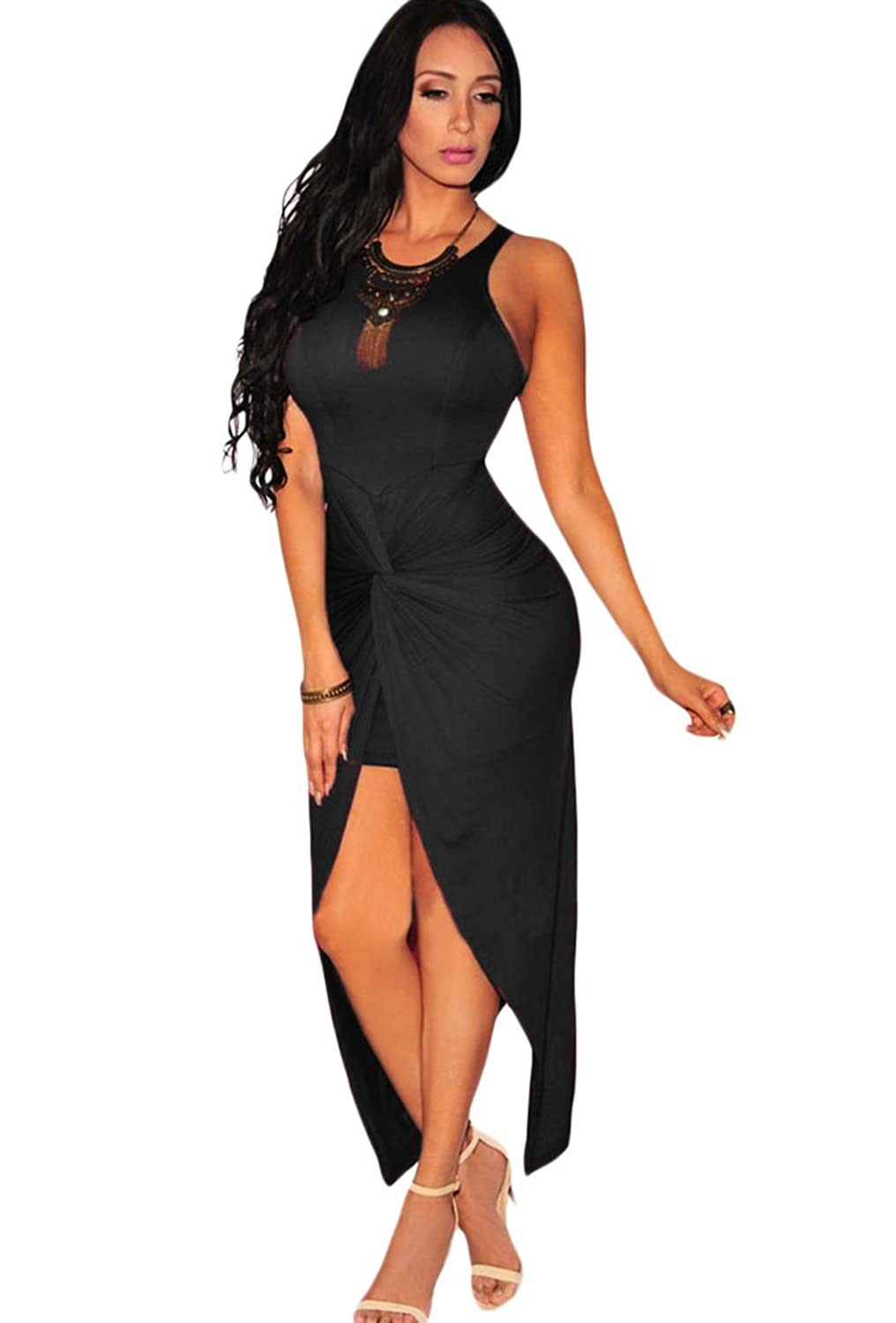 Women Asymmetrical High Low Bodycon Cocktail Maxi Slit Dress