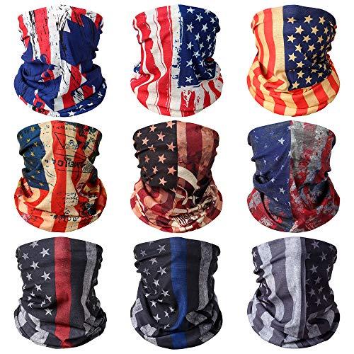 9 Pcs Neck Gaiter Face Mask Dust Wind UV Protection Scarf Sports Headwear Neck Balaclava for Men,Women