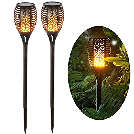 Decken- & Wandleuchten Garten & Terrasse Fein Solar Garten Tiki Taschenlampe 96 Led Flackernder Pfad Tanzende Flammen Lichter