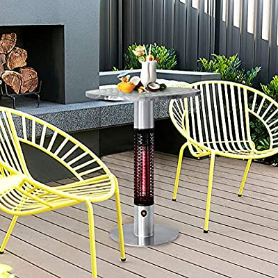 Patio Bistro Table with Electric Infrared Heater, Patio Infrared Space Heater with LED Lights, Table in One Bistro-style Electric Round Table Top Heater, 360 Degrees of Radiant Heat, 4760 BTU