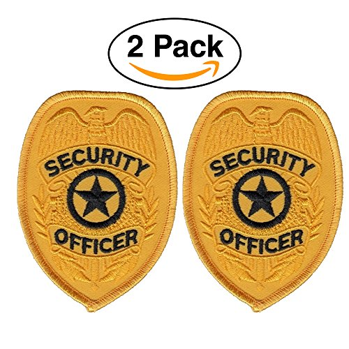 2 Pack – Security Officer Guard Badge Patch Embroidered, Oval Gold
