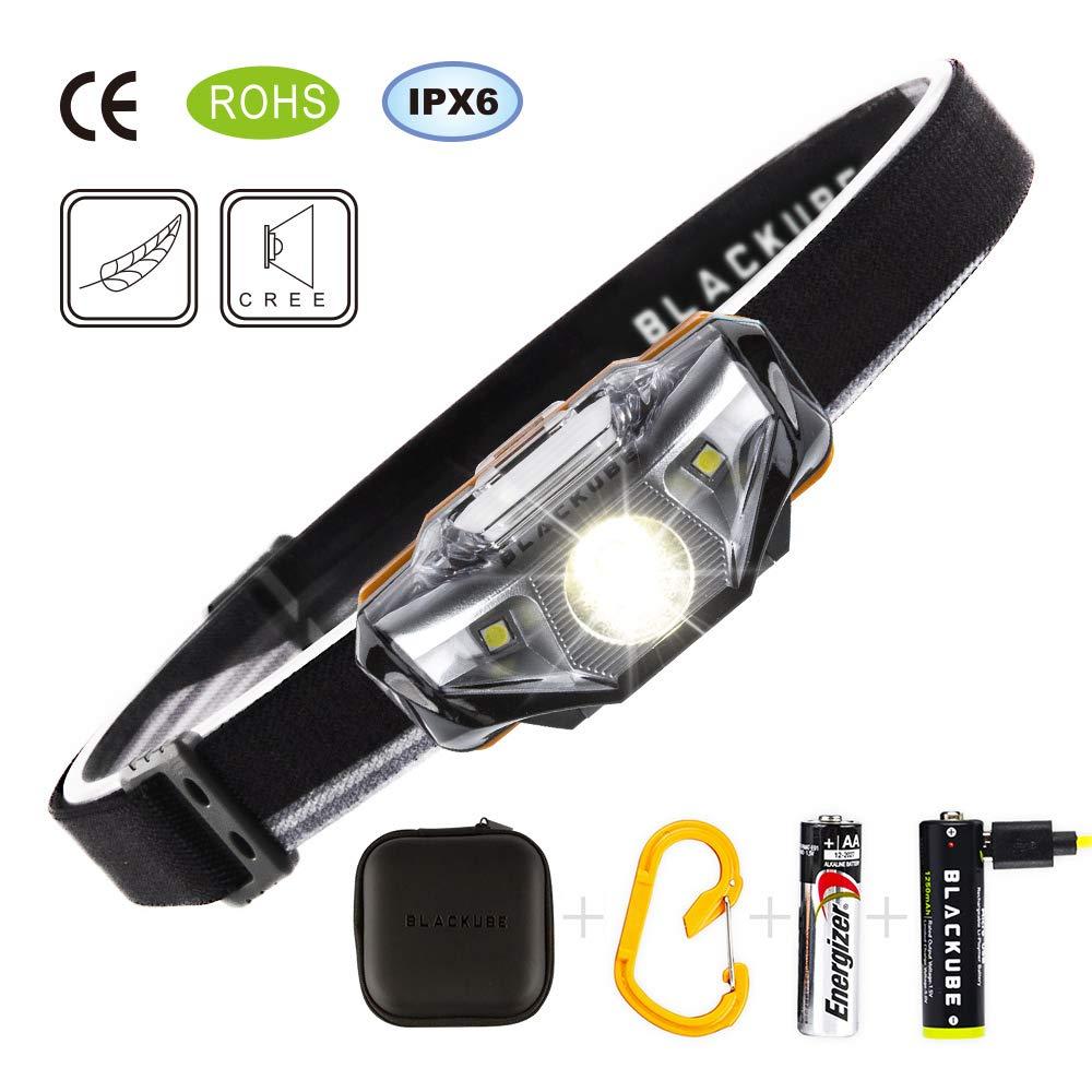 Blackube Linterna Frontal Brillante Ultra Brillante (solo 2.3Once), 7 modos de iluminación, IPX6 a prueba de agua, proyector para operación, camping, senderismo