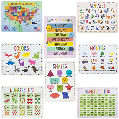 8-Pack Reversible Classroom Wall Posters 22 x 17 - Learn the Alphabet, Colors, Days, Months, Numbers, Shapes, & USA Map by Pint-Size Scholars