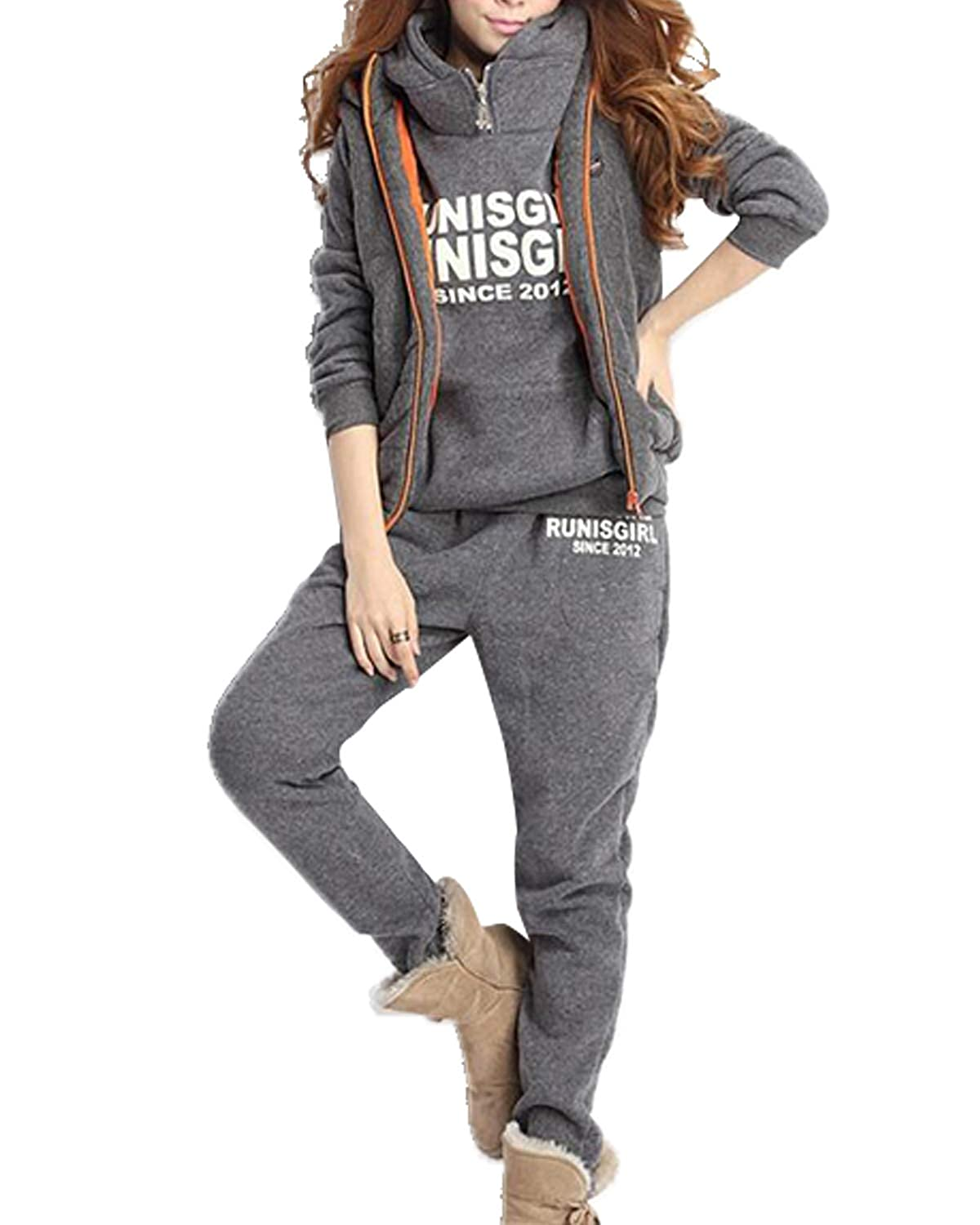 DULEE Damen 3 Set Winter Fleece Dicke Kapuzen Sweatshirt