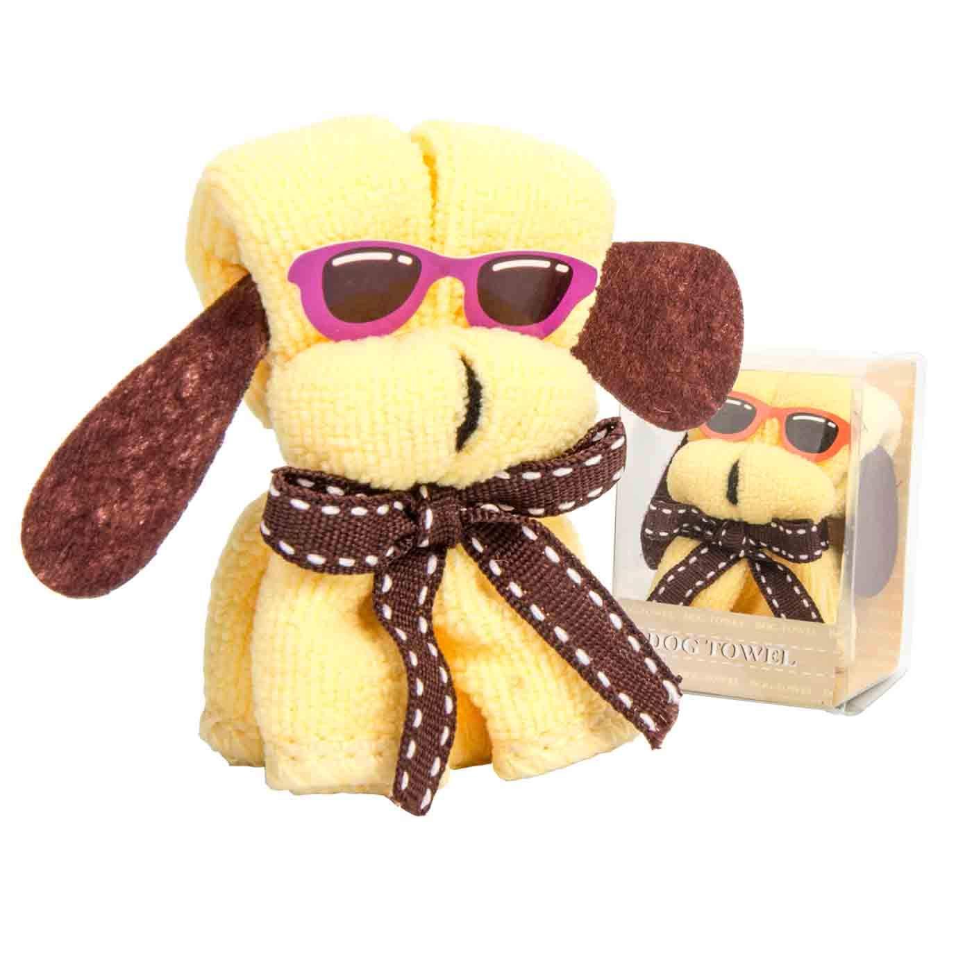 Lote de 15 Divertidas Toallas Forma Perro con Gafas en Caja (Surtidas). Higiene y Belleza. Recuerdos y Complementos. Regalos Originales.
