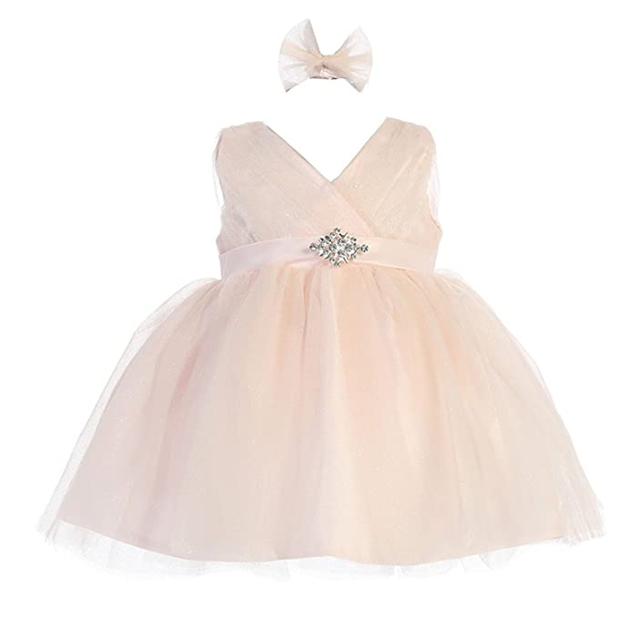 6e23402e385 Amazon.com  iGirldress Little Girls  Glitter Tulle V-Neck Flower Girl Dress  Size 6Mos-12  Clothing