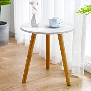 INOVIX 15.35×18.50 Inch Round White Modern Home Decor Coffee Tea End Side Table for Living Room, Bedroom and Balcony, Easy Assembly