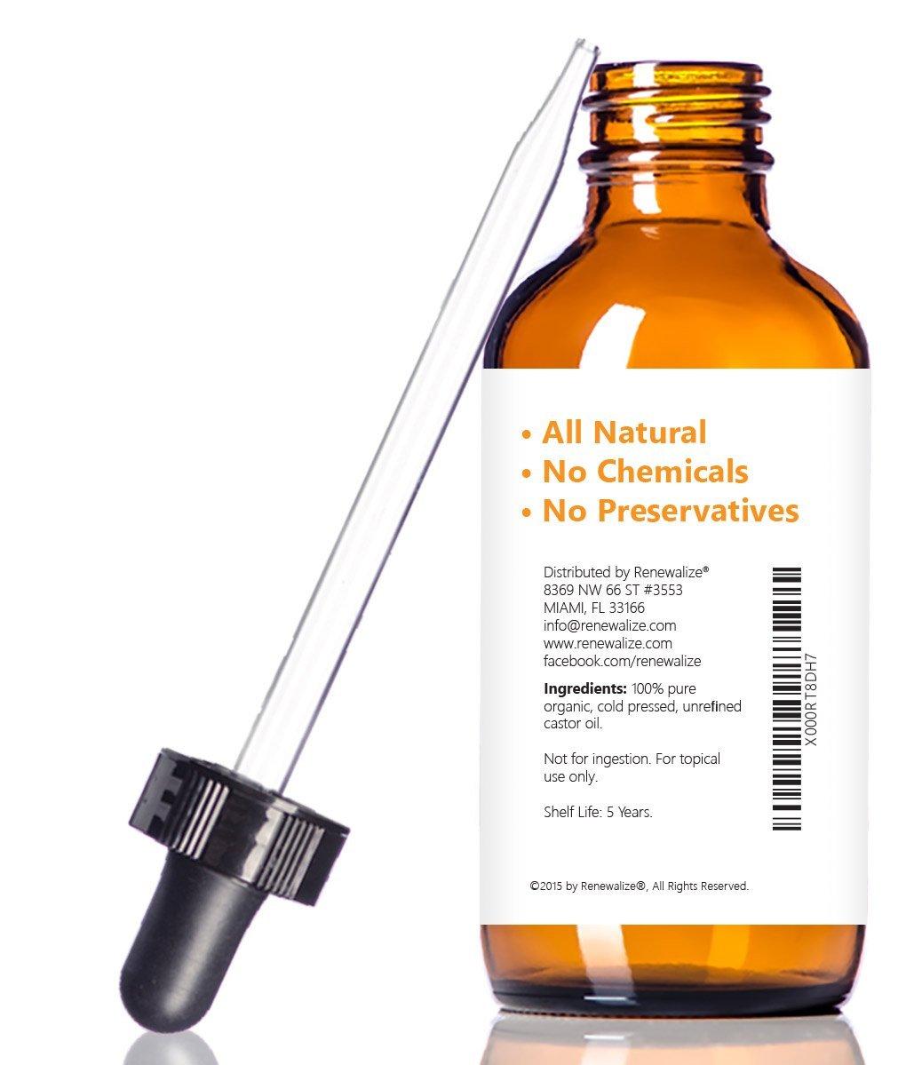 Renewalize Orgánico certificado aceite de ricino - esencial para el crecimiento de pelo grande 4 Oz. Cristal Oscuro botella con cuentagotas | Pestañas ...