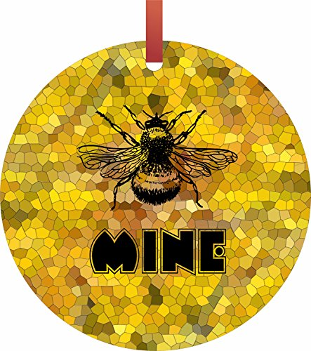 Bee Mine Flat Round   Shaped Christmas Holiday Ornament   Double Sided   Made In The U S A  By Lea Elliot Inc  Tm