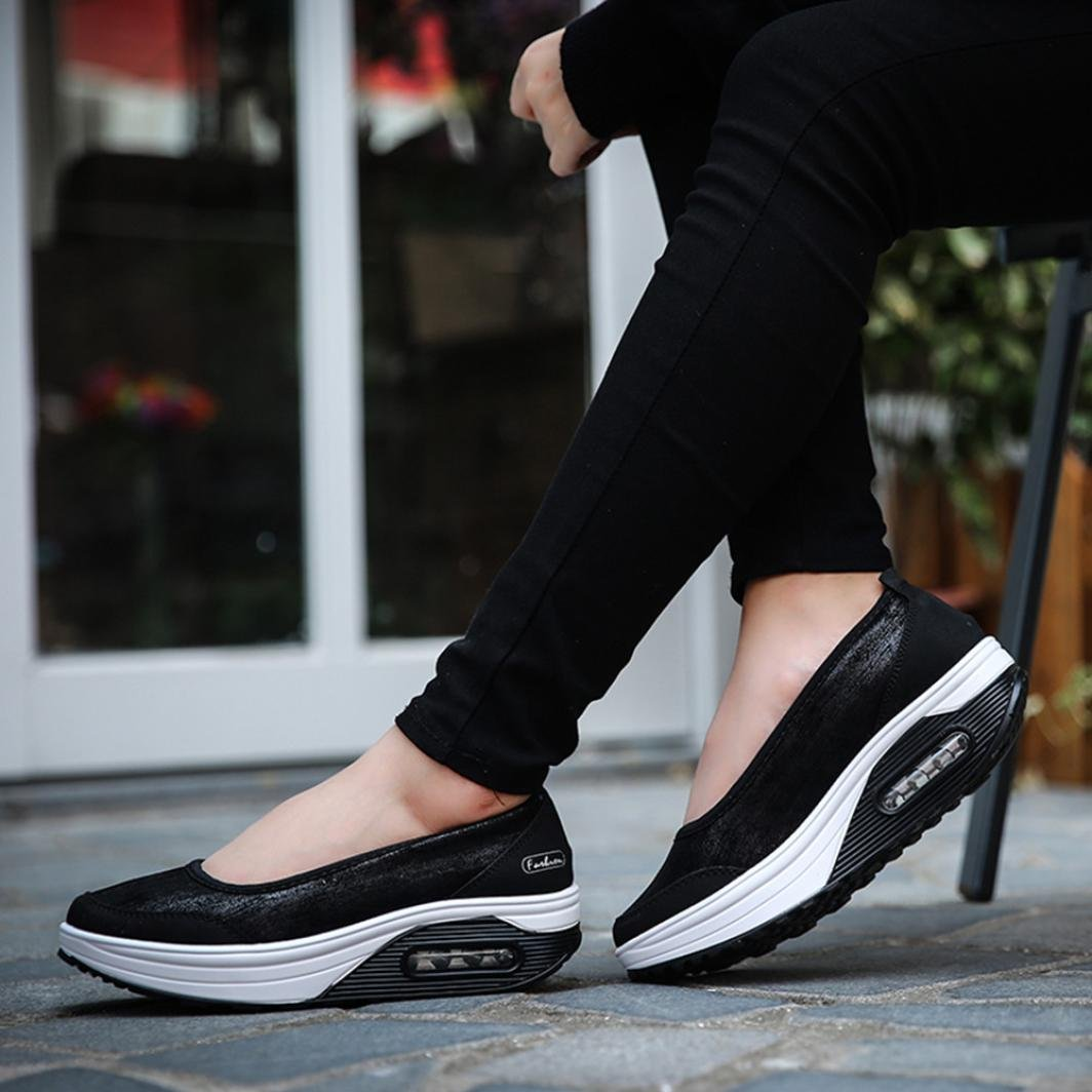 Big Promotion! Women Casual Shoes, Neartime 2018 Fashion Air Cushion Platform Shoes Shallow Round Toe Sport Sneakers (US:8, Black) by Neartime Sandals (Image #3)