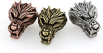 1pc Wolf Head Stainless Steel 15mm Wolf Head Beads Silver Tone Animal Beads Fit Leather Bracelet Hole Small Hole Charms Jewelry Making
