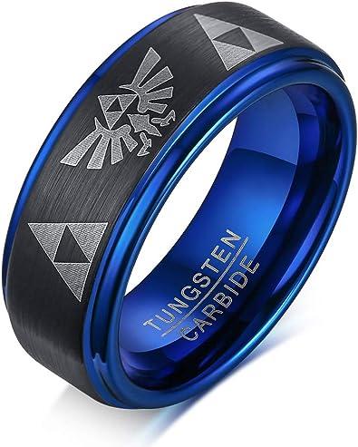 8mm Tungsten Carbide Blue Step Edges Triforce Zelda Men/'s Ring