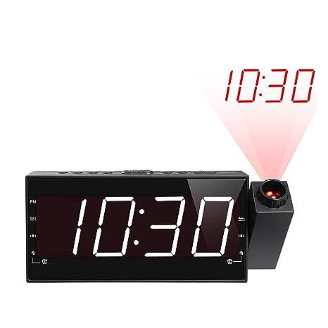 XJYA Reloj de proyeccion con Radio Am/FM, Tiempo de Dormir, Pared del