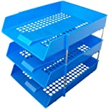 3 x BLUE PLASTIC FILING STORAGE LETTER TRAYS + 8 METAL RISERS RODS - DESK TIDY DOCUMENT PAPER FILING STACKING STACKER IN OUT - OFFICE SCHOOL COMMERCIAL STATIONERY SUPPLIES
