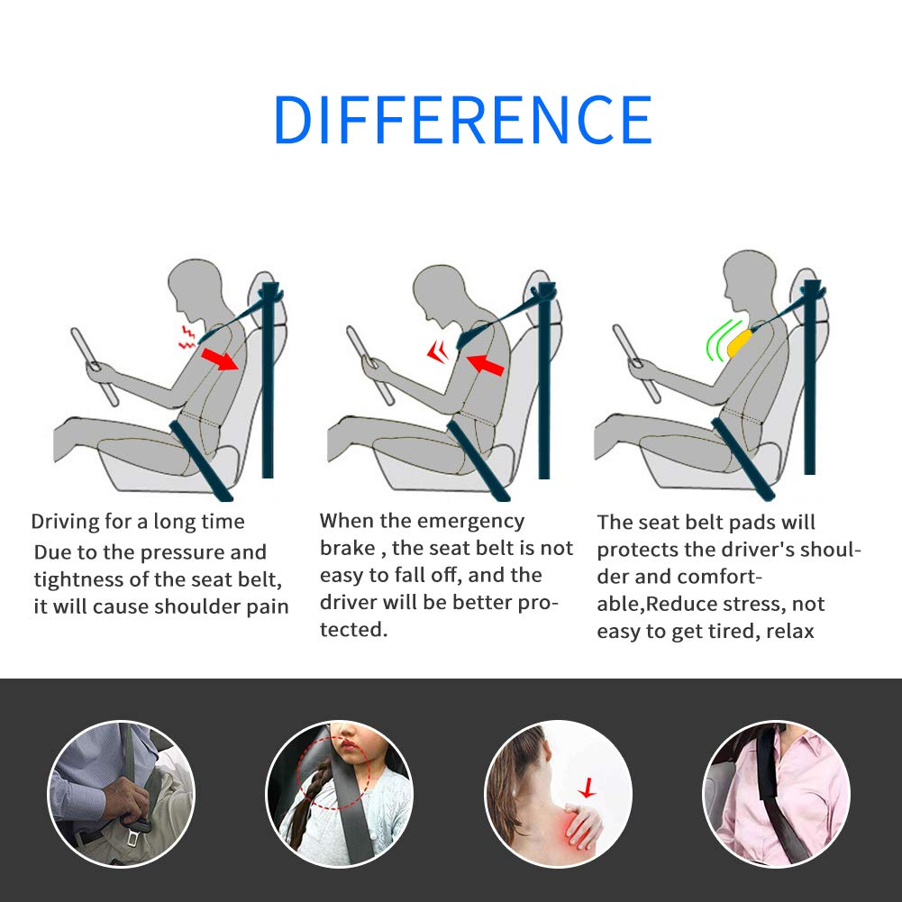 LEAD FOSTER Car Seat Belt Pads Cover for Toyota,Car Styling Seat Belt Shoulder Strap Pads Covers for Toyota Corolla Camry RAV4 Yaris Prius Car Styling Reduce Stress and Pain(for Toyota)