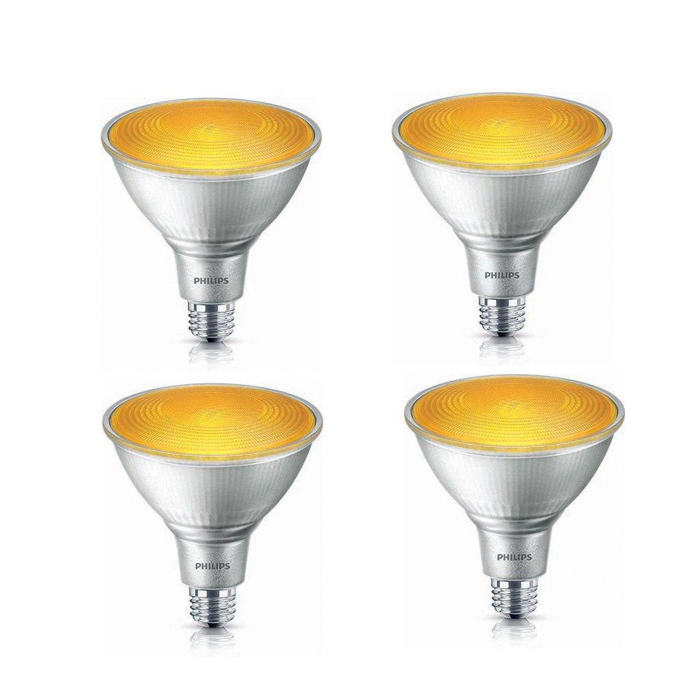 Philips LED 469080 90 Watt Equivalent Indoor/Outdoor PAR 38 Yellow LED Light Bulb, 4 Pack, Piece