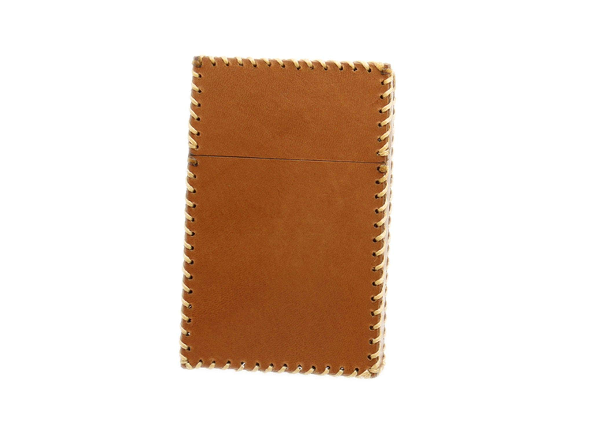 Retro Cigarette Box Cowhide Simple Smooth Leather Hard Box Package 20 Sticks Exquisite Gift Cigarette Cases,Yellow Brown