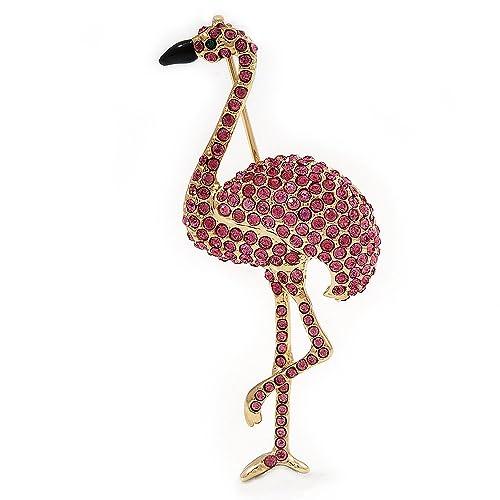 Avalaya Pink Swarovski Crystal 'Flamingo' Brooch in Gold Plated Metal